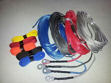 """Synthetic 3/16""""x50' AmSteel Blue ATV winch rope winch lines crushproof thimble"""