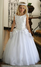 NEW FLOWER GIRL CHRISTENING WHITE DRESS FIRST COMMUNION CHURCH CONFIRMATION GOWN