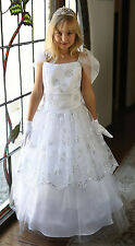 NEW CHRISTENING CHURCH FLOWER GIRL CONFIRMATION 1ST COMMUNION WHITE FORMAL DRESS