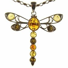 BALTIC AMBER STERLING SILVER 925 DRAGONFLY PENDANT NECKLACE CHAIN JEWELLERY GIFT