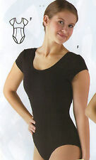 NWT Cap Sleeve Princess Seam Black Leotard Cotton Spandex Dance Ballet Yoga