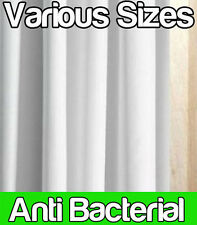 ANTI BACTERIAL WHITE POLYESTER SHOWER CURTAIN - EXTRA WIDE LONG - OPTIONAL RINGS
