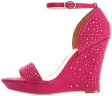 Women's BCBG BCBGeneration GLAMM Platform Wedge Dress Sandals Heels Hot Fuchsia
