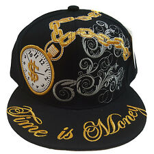 TIME IS MONEY BLACK Hip Hop Fitted Cap