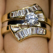 Gold Wedding Engagement Eternity 2 Ring Set gp cz Various Sizes