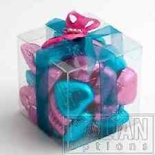 LUXURY CLEAR SQUARE CUBE BOXES CUP CAKE WEDDING FAVOUR CUBES GIFTS CHOOSE SIZES
