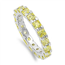 Princess Yellow Topaz Eternity Wedding Band .925 Sterling Silver Ring Size 5-10