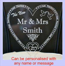 PERSONALIZED  Wedding ♥ HEART ♥ Acrylic cake topper for 'The new MR & MRS .....'
