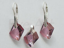 SET GENUINE SWAROVSKI CRYSTAL earrings + pendant COSMIC 14mm 20 STERLING SILVER