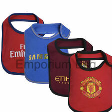 OFFICIAL BOYS GIRLS BABY TODDLER CHILDRENS FOOTBALL CLUB 2 PACK FEEDING BIBS