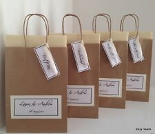 BROWN LUXURY PERSONALISED PAPER WEDDING FAVOUR PARTY GIFT BAG