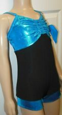 NWT ACRO FOIL SHORTY UNITARD TURQUOISE GIRLS CAMISOLE DANCE JAZZ HIP HOP CH/AD
