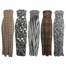 WOMEN'S PRINTED FULL LENGTH BANDEAU LADIES KNOT MAXI DRESS IN ALL SIZE S/M & M/L