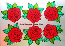 BEA'S STAINED GLASS EFFECT RED ROSES WINDOW MIRROR TILE CONSERVATORY CLINGS
