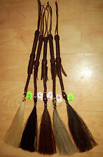 HITCHED HORSE HAIR SHOO FLY/SHU FLY WHISK ON DARK OILED BRAIDED QUIRT 31""