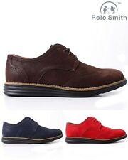 Mens Polo Smith Brouges Suede Look Wide Brogues Gibson Oxford Lace Up Shoes