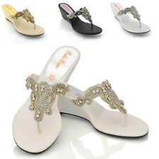 LADIES WEDGE DIAMANTE TOE POST WOMENS SPARKLEY DRESSY PARTY SANDALS SIZE 3 - 9