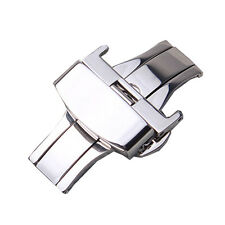 Silver Stainless Steel Butterfly Deployment Clasp Buckle With Push Button