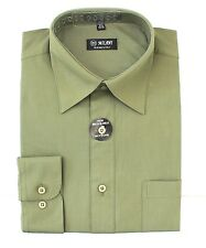 Mens Dress Shirt Plain Olive Green Modern Fit Wrinkle-Free Cotton Blend Milani