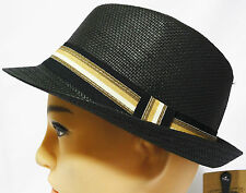 Vintage Woven Summer Natural Paper Straw Fedora/Trilby bucket sun Hat with band