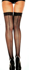 Music Legs 4909 Backseam Fishnet Lace Thigh Hi Stockings Plus 1X Queen Black Red