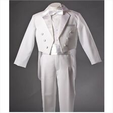 Boys Teen WHITE Tuxedo Suit Page Boy Suit FORMAL: Sz 000 – 20 *11*