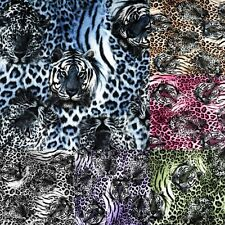 Leopard & Tiger Print Brown Green Pink B&W Purple Blue Stretch Faux Fur Fabric