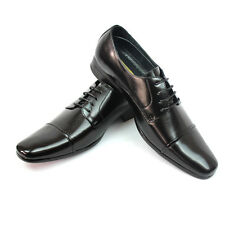 New Men's Solid Black Delli Aldo Shoes Wing Tip Design Lace Up Formal Oxfords