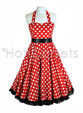 50s Red Polka Dot, Rockabilly, Swing, Prom Dress with Ribbon Bow & Petticoat
