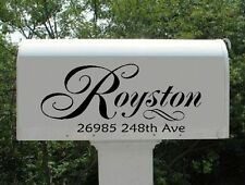 Swirls Mailbox Vinyl Decal Personalized with Name and Street Address, Set of 2