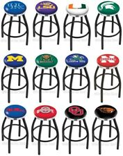 Choose NCAA K-O Team L8B2C Black Single-Ring Swivel Bar Stool w/ Chrome Accent