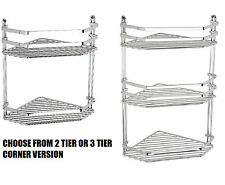 CHROME DOUBLE 2 TIER OR TRIPLE 3 TIER CORNER BATHROOM TIDY SHOWER CADDY SHELF