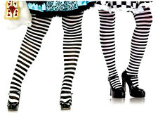 Leg Avenue 7100 Opaque Striped Tights Plus Size 1-2X or 3-4X Queen Black White