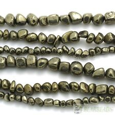 Natural Iron Pyrite Gemstone Freeformed Nugget Loose Beads 16 Inches Strand