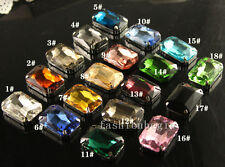 12pcs Glass Rhinestone 27x18mm Sew On Crystal Rectangle Fancy Stone chose colors