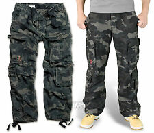 SURPLUS AIRBORNE TROUSERS BLACK CAMO RAW VINTAGE CARGO NIGHT COMBAT PANTS ARMY