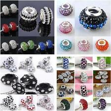 Multi Rows Rhinestone Crystal Pave Resin Spacer European Beads Charm Finding DIY