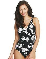 BNWT Miraclesuit Wrap Swimsuit Black/White Floral Stretch Swimming Costume