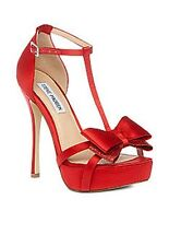Womens Shoes Steve Madden HOLLY T-Strap Platform Sandals Heels Satin Fabric RED