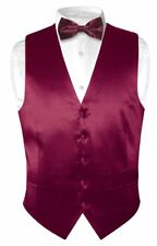 Biagio Men's SILK Dress Vest & Bow Tie Solid BURGUNDY Color BowTie Set