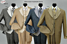 Men's high fashion suit,  3-pc contrasted vest, sharp stripe, cuffed Sleeve 2911