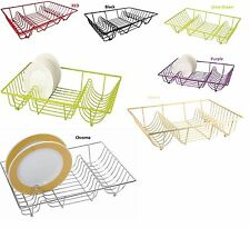 LARGE DISH DRAINER METAL WIRE PLATE CUTLERY DRAINING RACK HOLDER KITCHEN TIDY