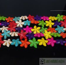 Mix Colored Howlite Turquoise Gemstone 22mm Starfish Spacer Loose Beads 16''