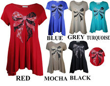 NEW WOMENS PLUS SIZE SEQUIN LACE BOW LADIES SHORT SLEEVE DIP HEM TOP TSHIRT TOPS