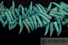 Blue Howlite Turquoise Stick Animal Tooth Shape Loose Spacer Beads 16'' Strand