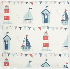 Fryetts Maritime Beach Huts Bunting Red and Blue Cushion Cover All Sizes