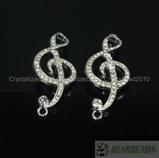 10Pcs Side Ways Crystal Rhinestones Musical Note Bracelet Connector Charm Beads