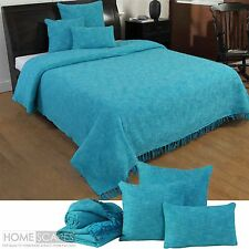 Teal Blue Handwoven Large Throw Bedspread Sofa Bed Blanket Cotton Filled Cushion