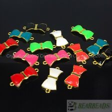 20Pcs Colorful Smooth Metal Bow Tie Bracelet Connector Charm Beads Mixed Colors