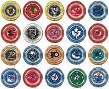 "Choose Your NHL Team 15"" Round Chrome Double Neon Ring Wall Clock by Holland Bar"